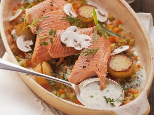Trout with Vegetables and White Wine Sauce recipe