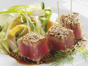 Tuna Skewers with Sesame Crust and Asian Vegetables recipe