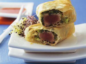 Tuna Spring Rolls with Sesame Seeds recipe