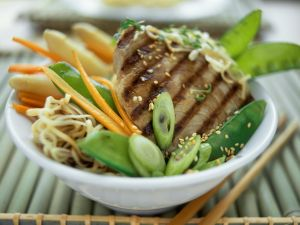 Tuna Steak with Sesame, Asian Noodles and Vegetables recipe