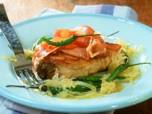 Tuna Steaks with Ham and Chile Peppers recipe