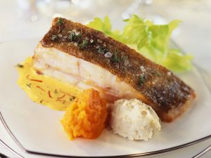 Turbot Fillets and Saffron Sauce with Mashed Artichokes and Carrots recipe