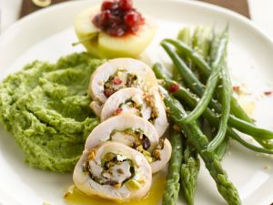 Turkey Rolls with Mashed Potato Peas and Asparagus recipe