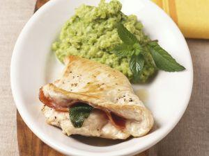 Turkey Saltimbocca with Potato and Peas Puree recipe