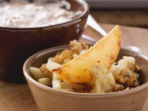 Turnip Wedges with Walnut-Pear Salad and Yogurt Dip recipe
