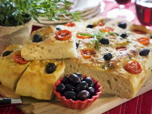 Tuscan Flatbread with Tomatoes and Olives recipe