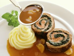 Veal and Spinach Roulade with Mushroom Sauce recipe