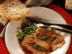 Veal Saltimbocca with Peas recipe