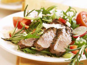Veal Steak with Arugula Salad recipe