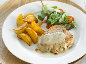 Veal Steaks with Lemon Balm Sauce, Potato Wedges and Salad recipe