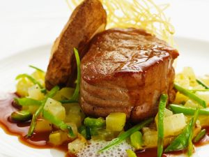 Veal Tenderloin with Sauteed Vegetables recipe