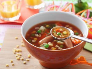 Vegetable Alphabet Soup with Sausages recipe