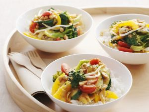 Vegetable Curry with Basmati Rice and Toasted Nuts recipe