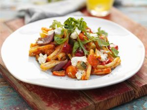 Vegetable Pasta with Feta Cheese recipe