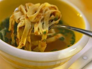 Vegetable Soup with Pancake Strips recipe