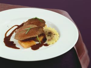Venison and Ravioli with Red Wine Filling recipe