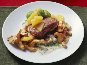 Venison Cutlets with Herb Sauce, Quince and Chanterelles recipe