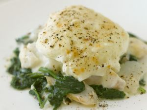White Fish with Spinach and Egg recipe