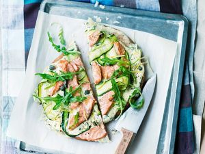 Whole Wheat Pizza with Zucchini and Salmon recipe
