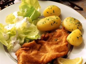 Wiener Schnitzel with Parsley Potatoes and Salad recipe