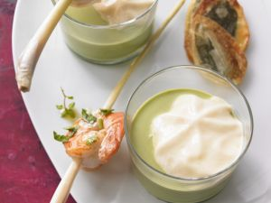 Wild Garlic and Coconut Soup with Lemongrass Shrimp Skewers recipe