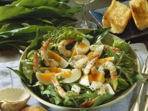 Wild Herb Salad with Eggs and Shrimp recipe