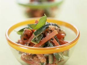 Zucchini and Carrot Salad with Almond Dressing recipe