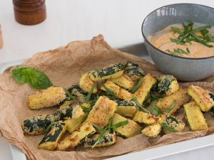 Zucchini Fries with Pesto Dip recipe