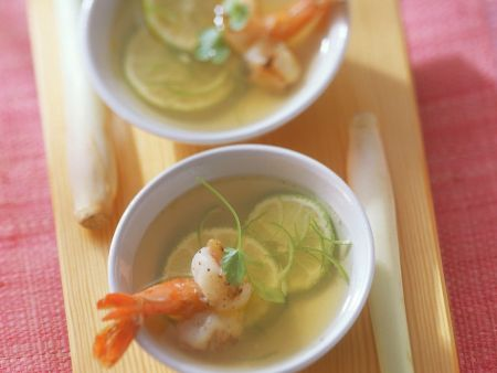 Asian Chicken Broth with Shrimp and Lime
