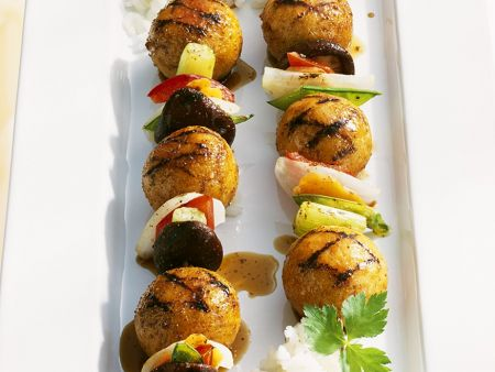 Asian Fish Ball and Vegetable Skewers