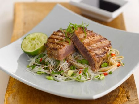 Asian style fish fillet with rice noodles recipe eat for Rice noodle fish