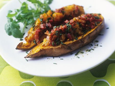 Bacon Filled Sweet Potatoes