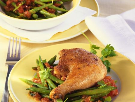 Baked Chicken Legs with Green Beans and Tomato Sauce ...
