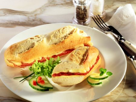 Baked Ham and Tomato Baguette