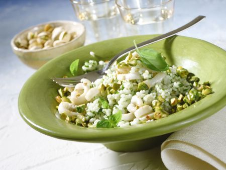 Basil Risotto with Pistachios and Cuttlefish