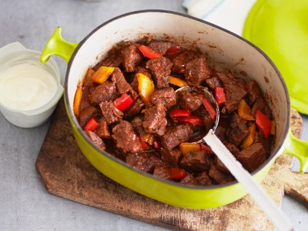 Beef Goulash With Bell Peppers And Sour Cream