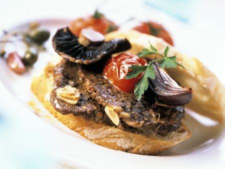 Beef Steaks and Vegetables on Toast