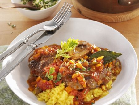 Braised Beef Shanks with Saffron Risotto Recipe | EatSmarter