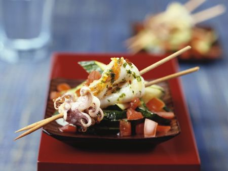 Calamari Skewers with Zucchini and Tomato