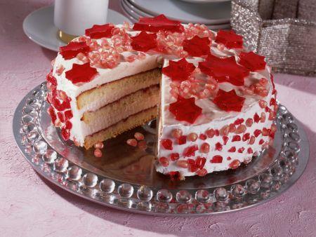 Campari Torte with Pomegranate Seeds