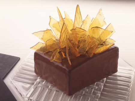 Caramel Layer Cake with Marzipan and Chocolate