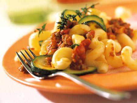 Cellentani Pasta Bolognese and Zucchini
