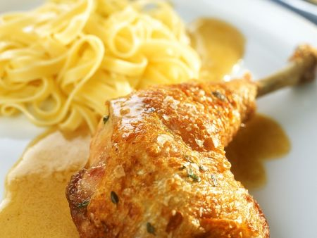 Chicken Legs with Pappardelle and White Wine Sauce