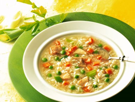 Chicken Rice Soup with Summer Vegetables