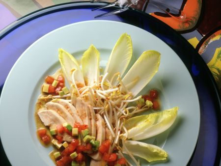 Chicken Salad with Ginger Dressing, Tomatoes and Endive