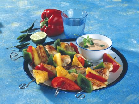 Chicken Skewers with Papaya-chile Dip