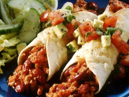 Chili Con Carne Enchiladas with Avocado Salsa