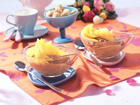 Chocolate-Hazelnut Mousse with Marinated Mango