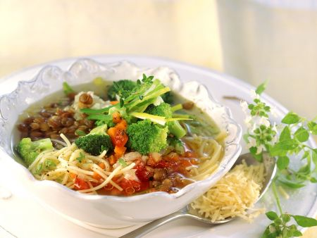 Clear Soup With Vegetables Lentils And Noodles