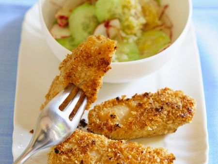 Coconut-Crusted Fish Sticks with Cucumber Salad recipe ...